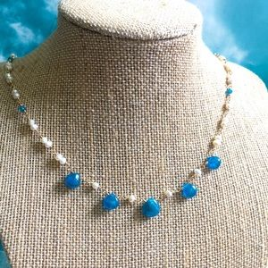 Ocean blue Apatite pearl necklace goldfill